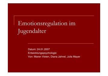 Emotionsregulation im Jugendalter