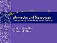 Menarche and Menopause: - Faculty of Social Sciences