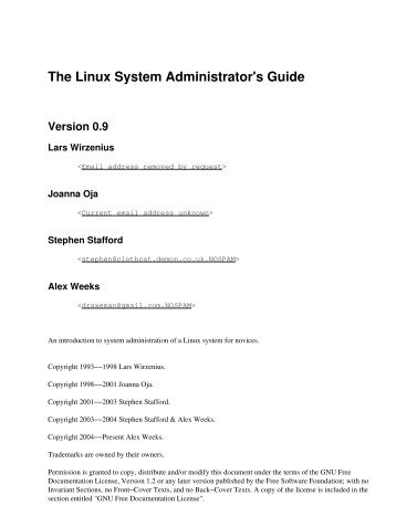The Linux System Administrator's Guide