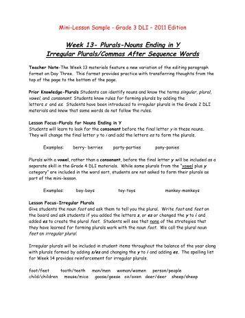 Spelling Plural Nouns - English-Zone.Com