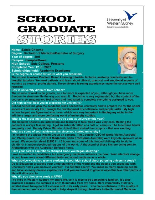 Zainib Cheema Degree - University of Western Sydney