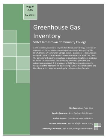 GHG inventory for 2008 - Jamestown Community College