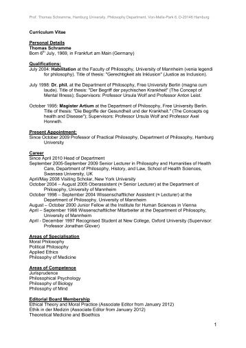 curriculum vitae personal details thomas schramme born 6th july