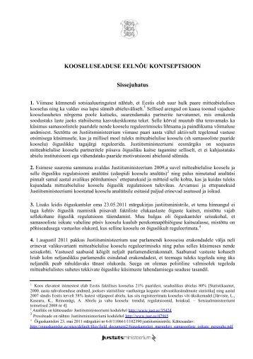 Kooseluseaduse eelnõu kontseptsioon - Justiitsministeerium