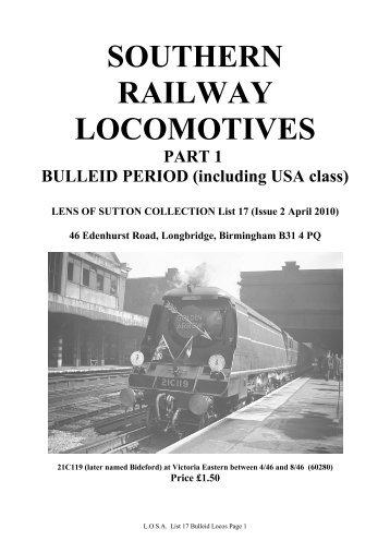 List of available Bulleid Locomotive photographs, April 2010