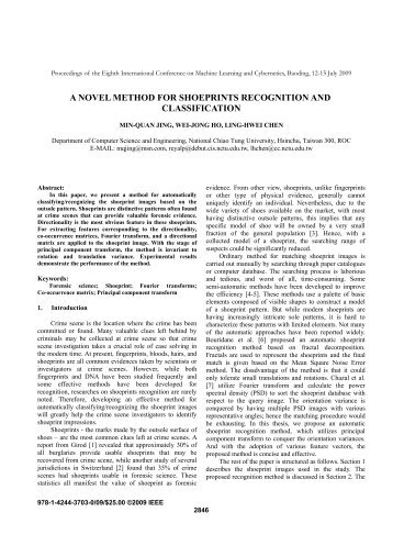 a novel method for shoeprints recognition and classification