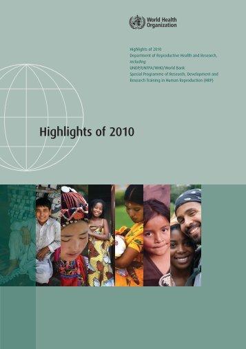 Highlights of 2010 - Extranet Systems - World Health Organization