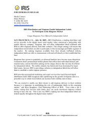 IRIS FOR IMMEDIATE RELEASE Media Contact: Diana Dornan T ...
