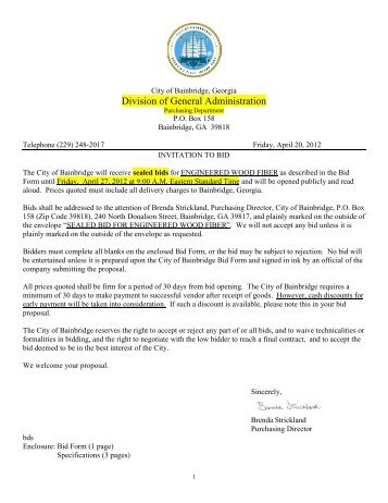 Division of General Administration - City of Bainbridge, Georgia
