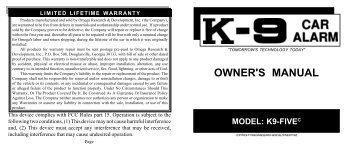 owner's manual model: k9-fivec - car alarm