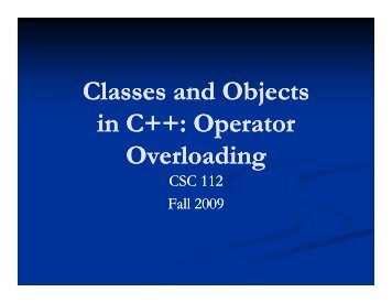 Classes and Objects Classes and Objects in C++: Operator ++ ...