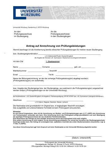 Antrag auf Anrechnung von Prüfungsleistungen - Universität Würzburg