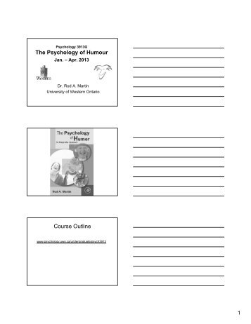 The Psychology of Humour Course Outline - Psychology - University ...