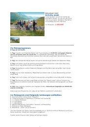 Activity week Ihr Reiseprogramm: Im Reisepreis sind folgende ...