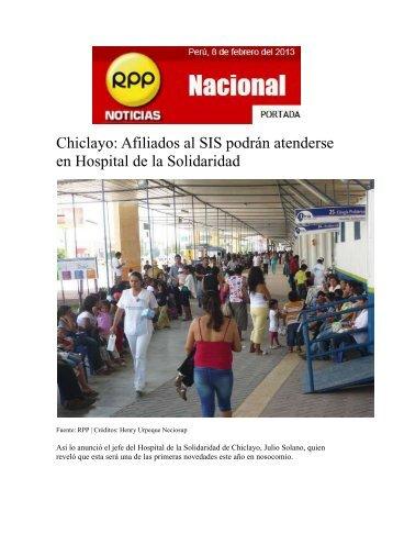 Afiliados al SIS podrán atenderse en Hospital de la Solidaridad