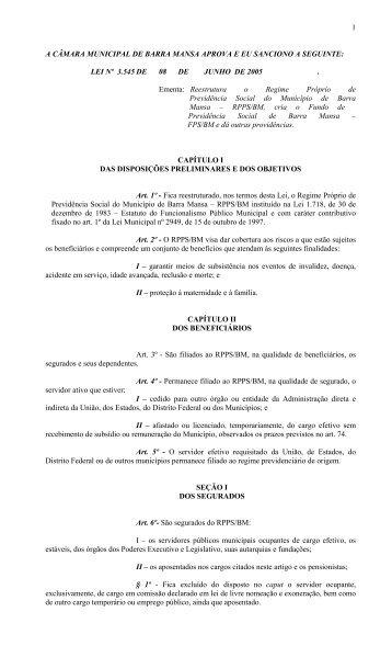 Lei nº 3545, de 8 de junho de 2005 - Prefeitura Municipal de Barra ...