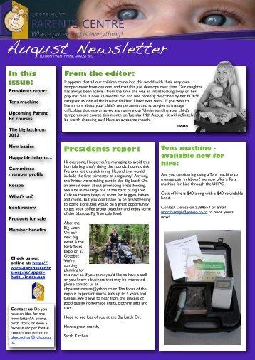 UHPC Newsletter August 2012 - Parents Centres New Zealand Inc