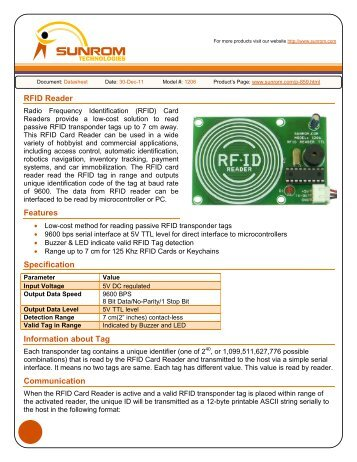 RFID Reader Features Specification Information about Tag ...