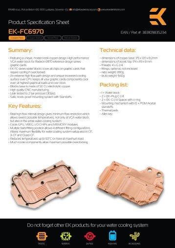 Product Specification Sheet - EKWB
