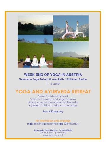 YOGA AND AYURVEDA RETREAT - Sivananda Yoga Firenze