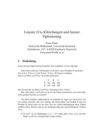 Einsatz von GEOGEBRA bei linearer Optimierung - teaching