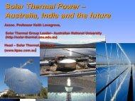 Solar Thermal Power – Australia, India and the future - Delhi ...