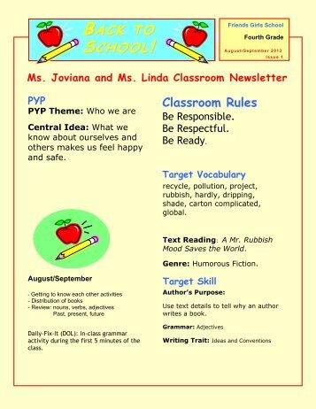 4 Grade English Monthly Plan – September 1 to September 29, 2012