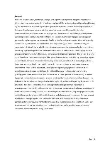 [pdf] Side | 1 Resumé Når børn starter