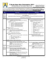 T-Scale New Hire Orientation 2011 - Arlington Public Schools