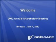 Annual Shareholders Meeting Presentation - GlobalSCAPE