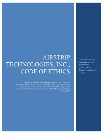AirStrip Technologies, Inc., Code of Ethics