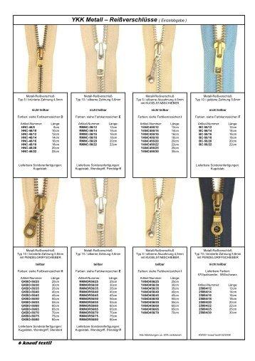 YKK Metall – Reißverschlüsse - Knauf-Textil Großhandel