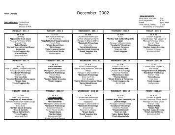 December 2002 Putnam County school lunch menus - The Putnam Pit