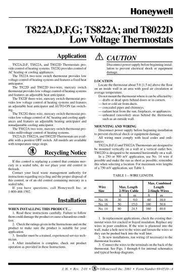 69 0524 t827a heating thermostat the energy conscious installation instructions the energy conscious