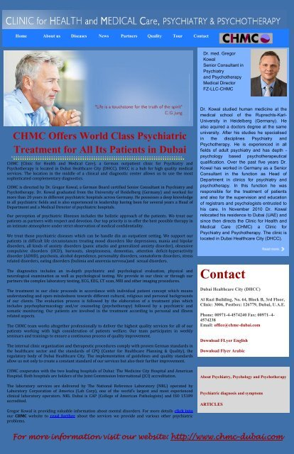 CHMC Offers World Class Psychiatric Treatment for All Its Patients in Dubai
