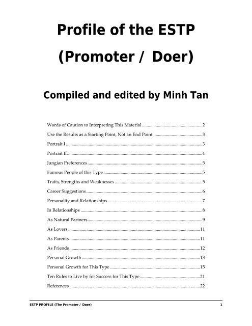Profile of the ESTP (Promoter / Doer) - Digital Citizen