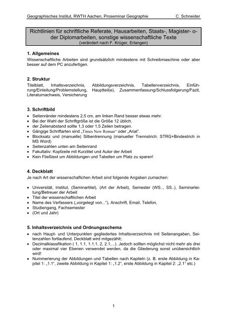Richtlinien Fã¼r Die Formale Gestaltung Von Hausarbeit Thesenpapier