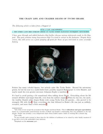 The Crazy Life and Crazier Death of Tycho Brahe - High Point ...
