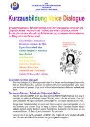 Kurzausbildung Voice Dialogue Methode 2013 Herbst Winterthur