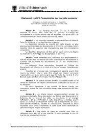 Règlement relatif à l'organisation des marchés mensuels - Echternach