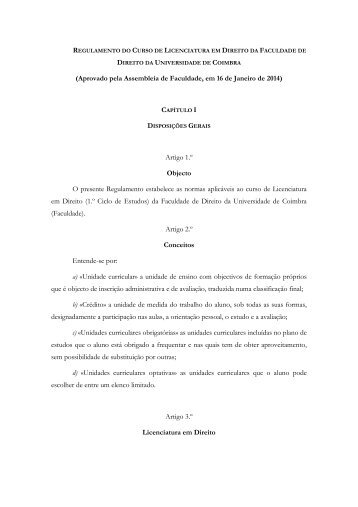 Regulamento do Curso de Licenciatura em Direito - Universidade ...