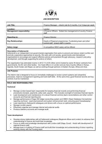Obis Finance Manager Job Description
