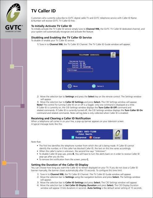 TV Caller ID - Gvtc com