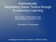 Automatically Generating Game Tactics through Evolutionary Learning