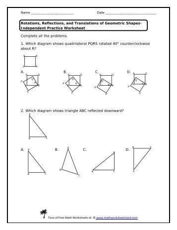 Transformation Math Worksheet Pdf