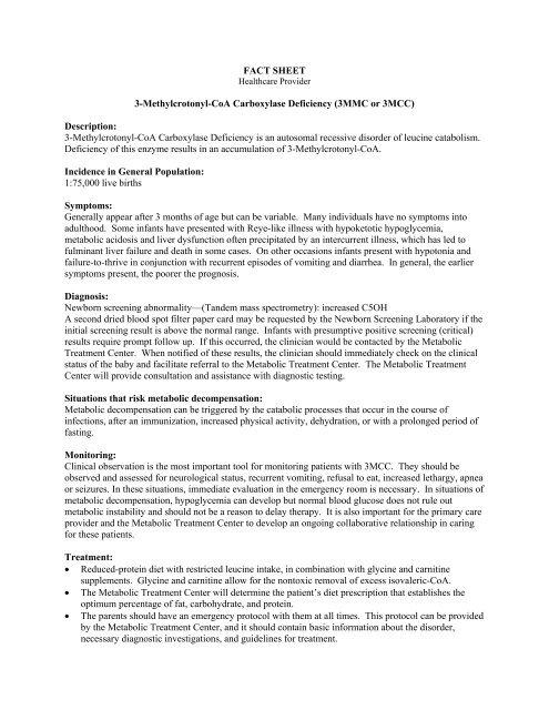 3-Methylcrotonyl-CoA Carboxylase Deficiency