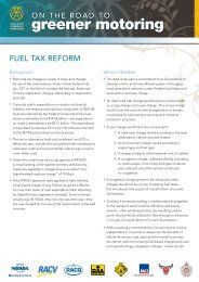 On the Road to Greener Motoring Fact Sheet - Fuel Tax Reform