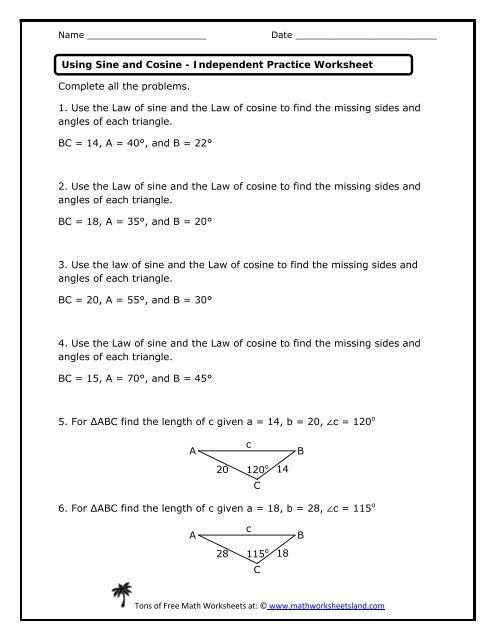 Using Sine and Cosine Independent Practice Worksheet - Math ...