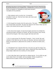 Creating Equations and Inequalities Independent Practice Worksheet