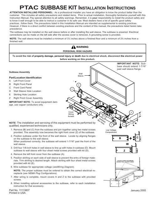 Installation Manual - Amana PTACYumpu